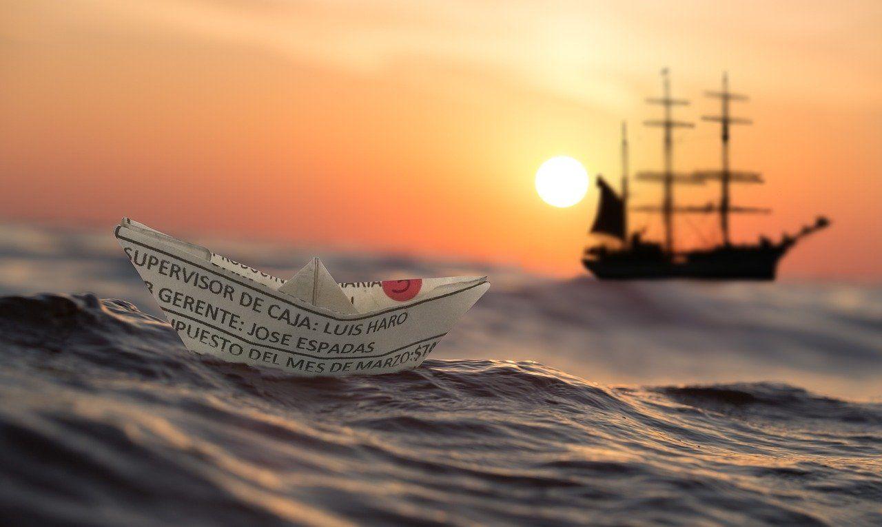 dawn, papierschiff, ship