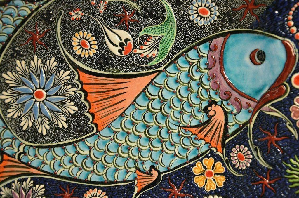 mosaic, fish, tile