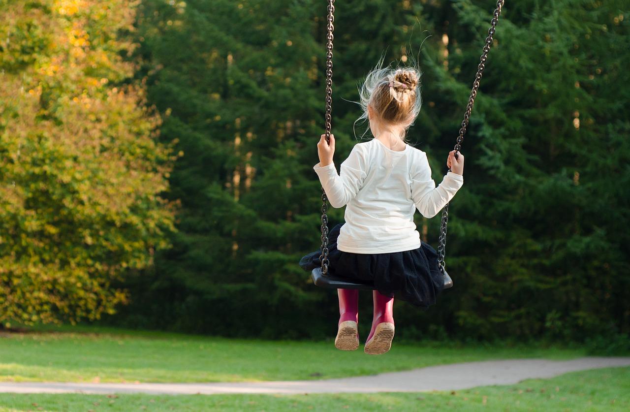 girl, swing, rocking